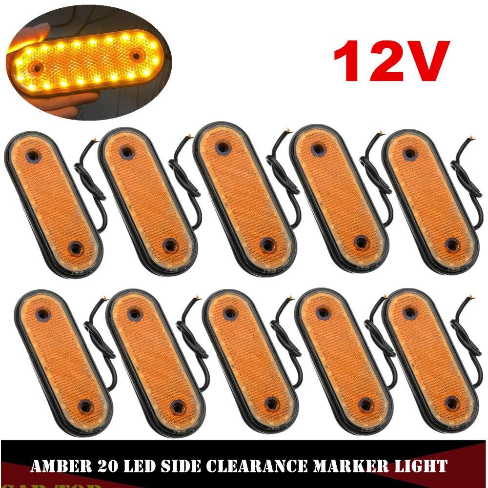 10PCS 12V Side Marker Amber 20LED Markerings Light Side Marker LED Trusk Lamp Pickup Truck Side Marker Lights For Truck